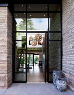 Fabulous Double Height Entrance Way Area Of Architecture Burkehill Residence Covered By Transparent Glass Wall And Door ...