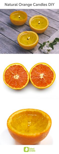 Natural Orange Candles DIY. Orange peels naturally contain an essential oil called limonene, which is flammable (you may have encountered flaming limonene as a garnish for fancy cocktails). The pith of an orange, however, contains very little limonene, and also tends to be drier than the rest of the peel or sections of juicy orange. These qualities make the pith a slow burner and ideal for a candle wick. for summer, outdoor, indoor, for girls, for boys, at home, science, nature, creative…