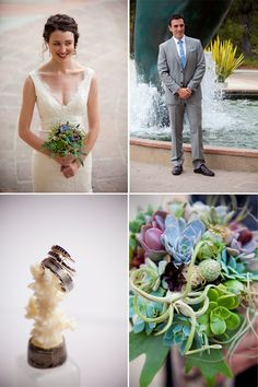 coral place holders, bouquet, attire for beach or aquarium wedding
