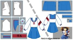 Haruhi Suzumiya Sailor Fuku Pattern Draft by Hollitaima.deviantart.com on @deviantART