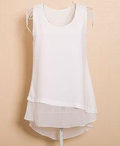 Elegante camiseta cuello Faux Twinset Diseño sin mangas de la blusa para las mujeres