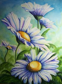Floral Painting - Daisy Blue by Conni Reinecke