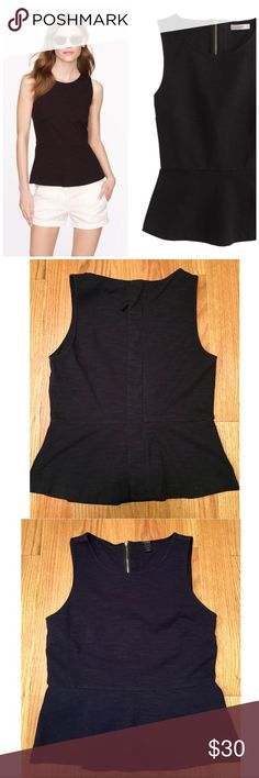 """J. Crew Ponte Peplum Top, Small, EUC J. Crew Ponte Peplum Top, Small  -Black -In excellent, pre-loved condition. No stains, rips, holes or pills.  -Measures: across bust: 16.5"""", length: 22"""" -Slim fit -Cotton/spandex -From a smoke & pet free home  -Any questions, just ask!  J. Crew describes: All hail the super-flattering peplum top, one of our flirtiest new creations this season. It's the perfect mix of sleek and structured, with a chic back-zip detailing that easily dresses it up or down…"""