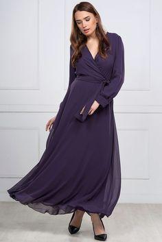 Uzun Violet Elbise 5813-308   İRONİ