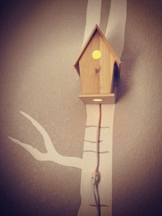 Bird House Night Light Woodland Nursery- Classic Natural Unfinished Wood