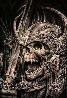 Skull Tattoo Design, Skull Tattoos, Body Art Tattoos, Tattoo Designs, Tattoo Ideas, Evil Skull Tattoo, Dark Fantasy Art, Dark Art, Vikings Art