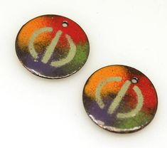 Purple Orange Green Red - Round Enameled copper #supplies @EtsyMktgTool http://etsy.me/2aiAOyg