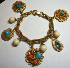 Vintage summer charm bracelet turquoise and coral color by lbjool, $25.00
