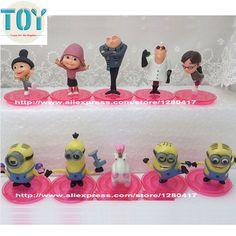 Despicable Me Agnes Edith Margo Gru Minions 10 PCS Movie Figure Cake Topper Toys