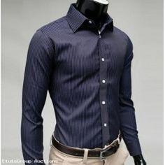 Fashion Classical Long Sleeve Vertical Pinstripes Dress Shirt For Men (Auction ID: 282, End Time : Dec. 28, 2014 05:01:17) - EtutsGroup Auctions