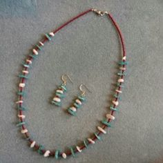 """Blue & white shell necklace set blue and white shell with fushia seed beads, necklace set necklace 20"""" earrings 1.5"""" Heidi's jewelry Jewelry Necklaces"""