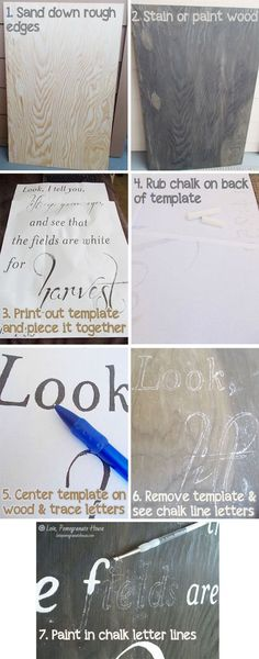 Transfer words onto canvas using a chalk technique. Great tip from lovepomegranatehouse.com