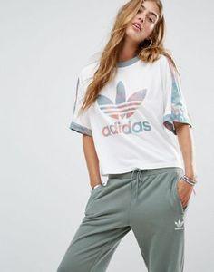 adidas Originals - T-shirt à logo trèfle et empiècements camouflage pastel