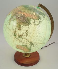 "Mid Century Replogle True to Life 12"" Globe Light w/ Metal Stand & Wooden Base #Replogle"