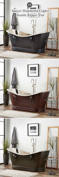 Gorgeously handcrafted copper bathtubs make an excellent focal point in any bathroom update. Made of sturdy metal, copper tubs are built for everyday use. In sizes ranging from to many finishes are available such as smooth, hammered, nic Bathroom Renos, Bathroom Fixtures, Master Bathroom, Beautiful Bathrooms, My Dream Home, Decoration, House Plans, Sweet Home, New Homes