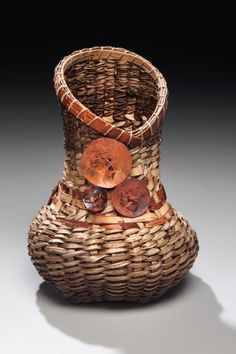Matt Tommey, Artist, Bark & Vine Vessel with Medallions: Scalloped top vessel woven with kudzu, poplar and birch bark. Copper medallions #PurelyInspiration