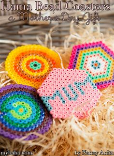 Make some beautiful Hama bead coasters as a gift for your mum this mother's day. Arts And Crafts For Teens, Diy Arts And Crafts, Diy Crafts, Hama Beads Coasters, Perler Beads, Beading For Kids, Pipe Cleaner Crafts, Diy Mothers Day Gifts, Perfect Mother's Day Gift