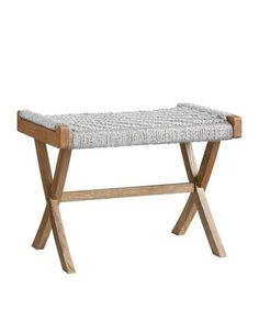 This teeny metallic-rope bench (23 3/4 by 17 3/4 by 16 inches) makes a big impact with a small price tag.