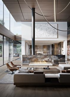 Tall Floor Lamps, Unique Floor Lamps, Interior Architecture, Interior Design, Marble Interior, Luxury Dining Room, Table Design, Contemporary Sofa, Staircase Design