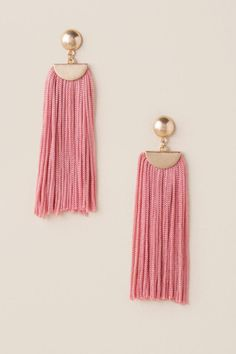 The Raleigh Statement Tassel Earrings are pink statement thread tassel earrings. Women's Earrings, Chandelier Earrings, Statement Earrings, Handmade Bracelets, Handmade Jewelry, Frocks For Girls, Tassel Jewelry, Designer Earrings, Jewelry Crafts