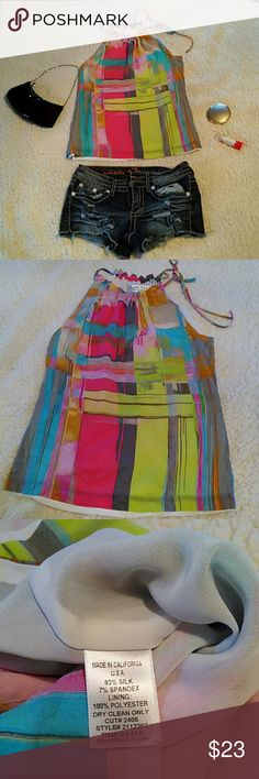 """Trina Turk halter tops Multi colored halter tops from Trina Turk brand. See the photos for measurements since the tag only show the size """"P"""" for petite but I think its size extra small. Used but good condition. Trina Turk Tops Blouses"""