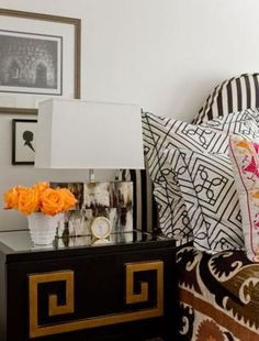 363ee3a2ff11 Love the gold detail on the nightstand. Black Bedroom Design