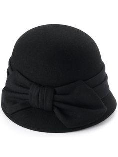 black bow cloche