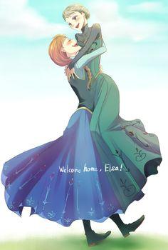 Welcome Home, Elsa! Anna Y Elsa, Frozen Elsa And Anna, Disney Frozen Elsa, Frozen Anime, Disney Cartoon Characters, Disney And Dreamworks, Disney Cartoons, Frozen Pictures, Frozen Pics