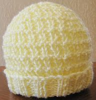 Newborn HAT Woven Style (5-10 lbs) Knit with Strait needles Or Knit with Double Pointed Needles Free pattern for charitable purpose...