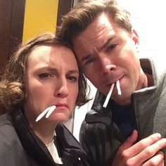 Lene Dunham and Andrew Rannells enjoys some prop joints: | 18 Celebrity Instagrams You Need To See This Week.