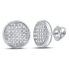 Yellow Gold Earrings Diamonds Micro Pave 10K Screw Back Studs 9.17mm Wide 1//5 cttw