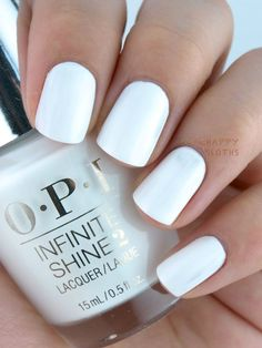 I love a good white nail shade with a summer tan. The Happy Sloths: OPI Infinite Shine Lacquer Soft Shades Collection Opi Nail Polish, Opi Nails, Nail Polish Colors, Nail Polishes, Gel Nail, Uv Gel, Matte White Nails, White Nail Art, White Polish