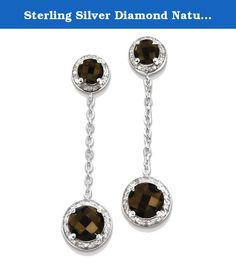 Sterling Silver Diamond Natural Smoky Quartz Earrings. Item Weight: 3.46 Gm Length: 38 Mm Width: 10 Mm Earring Closure: Post \u0026 Push Back Average Weight: 3.45 Gm Attributes: * Polished * Post * Sterling Silver * Diamond * Smokey Quartz * Dangle * Rhodium Plated Metal: Sterling Silver Country Of Origin: China Stone Type1: Smoky Quartz * Stone Creation Method1: Natural * Stone Treatment1: Heat Treated * Stone Color1: Brown * Stone Weight1: 0.9 * Stone Shape1: Round Brilliant Shape…