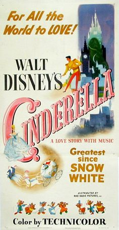 The original movie poster from the first release of Cinderella.