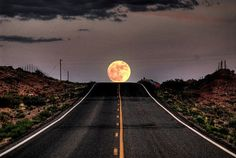 Moon rise over the road ahead. No matter where I was going I think I would just keep driving till I couldn't see this moon again. Beautiful Moon, Beautiful World, Beautiful Places, Beautiful Roads, Simply Beautiful, Amazing Places, Cool Pictures, Cool Photos, Beautiful Pictures