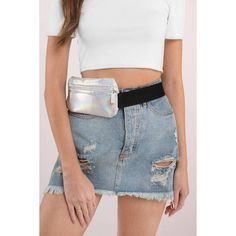 Midway Holographic Fanny Pack ($24) ❤ liked on Polyvore featuring bags, silver, blue bag, holographic bag, belt bag, waist bag and hip fanny pack