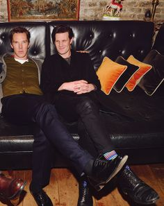 Can we all just take a moment to look at this picture of Matt Smith and Benedict Cumberbatch sitting on a couch together? #DoctorWho #Sherlock #Wholock