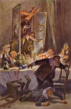 """""""Die Bremer Stadtmusikanten"""" - Illustration zu Grimms Märchen, von Professor Paul Hey, Maler, Grafiker und Illustrator (19.10.1867 in München - 14.10.1952 Gauting)"""