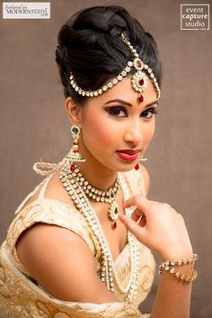 South Asian Tamil Indian Wedding Bridal Hair Makeup Look Saree Jewellery - more inspiration @ http://www.ModernRani.com