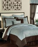 PEM America Bedding, India Tile Blue Brown CA California King 20 Piece Comforter Set