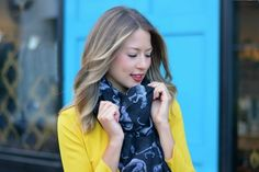 yellow dress, printed scarf: allie wears - a boston based personal style blog
