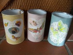 Shabby Chic Painted Tin Can Pencil Holder Art by vintagearmoire