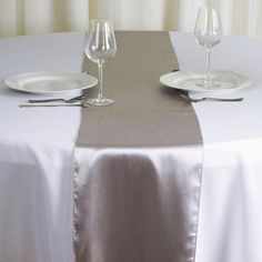 Tiger Chef Silver 12 x 108 inches Long Satin Table Runner for Wedding, Table Runners fit Rectange and Round Table Decorations for Birthday Parties, Banquets, Graduations, Engagements Wedding Catering Near Me, Party Catering, Catering Ideas, Catering Display, Wedding Venues, Catering Buffet, Catering Food, Gown Wedding, Wedding Dresses