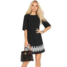 Black Short Sleeve O-Neck Beach T Shirt Dress.  Get 20% off your shopping, use code KW022017 Lots more in stock. Fast delivery, Free UK standard delivery.