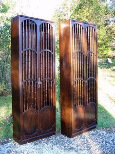 Pair Tall VTG Solid Mahogany Hollywood Regency China Curio Display Cabinets #HollywoodRegency #unknown
