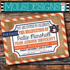 Any Color GRADUATION BURLAP Stripes Orange Navy by MolsDesigns