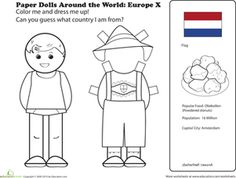 First Grade Paper Dolls Community & Cultures Worksheets: Paper Dolls Around the World: Europe X
