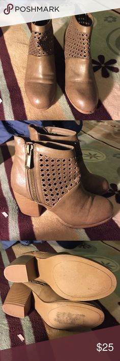 Brown short booties Really nice cute bottles only worn twice , great condition 9/10. On left boot has a little tear as shown on picture but still look cute can't really tell unless you really look in to it. Shoes Ankle Boots & Booties