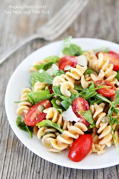 Arugula Pasta Salad Recipe on twopeasandtheirpod.com A simple pasta salad that is perfect for summer! #salad #pasta