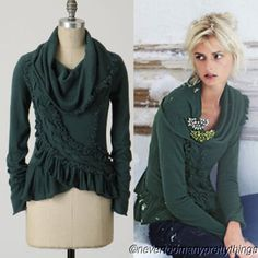 NWT-128-Anthropologie-SWEEPING-FRILLS-Sweater-Guinevere-L-Cowl-Ruffle-Cashmere
